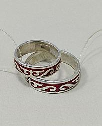 Обручальные кольца /красная эмаль / размеры с 16 по 22