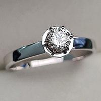 Золотое кольцо с бриллиантами 0.32Сt SI1/J, EX - Cut, фото 1