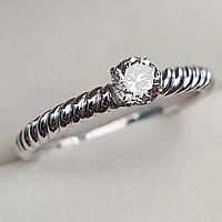 Золотое кольцо с бриллиантами 0.36Сt SI2/K, EX - Cut, фото 1