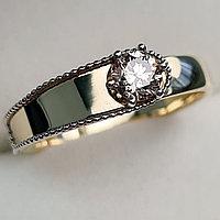 Золотое кольцо с бриллиантами 0.36Сt VVS2/N, EX - Cut, фото 1