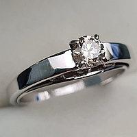 Золотое кольцо с бриллиантами 0.47Сt SI2/K, EX - Cut, фото 1