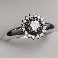 Золотое кольцо с бриллиантами 0.48Сt SI2/K, EX - Cut, фото 1