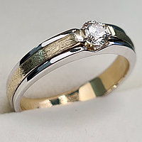 Золотое кольцо с бриллиантами 0.22Сt VS2/J, EX - Cut, фото 1