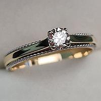 Золотое кольцо с бриллиантами 0.25Сt SI1/H, EX - Cut, фото 1