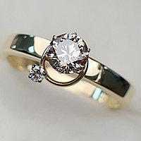 Золотое кольцо с бриллиантами 0.54Сt VVS1/N, EX- Cut, фото 1