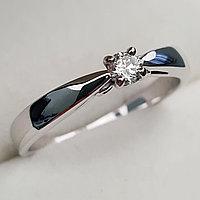 Золотое кольцо с бриллиантами 0.15Сt SI1/I, EX - Cut, фото 1