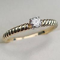 Золотое кольцо с бриллиантами 0.17Сt I1/H, VG- Cut