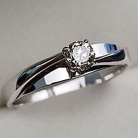 Золотое кольцо с бриллиантами 0.32Сt VVS1/M, EX - Cut, фото 1