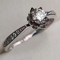 Золотое кольцо с бриллиантами 0.375Сt SI2/I, EX - Cut, фото 1