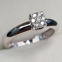 Золотое кольцо с бриллиантами 0.10Сt VS1/H, EX - Cut, фото 1