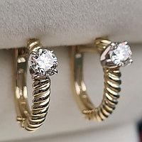 Золотые серьги с бриллиантами 0.40Ct SI1/I, EX-Cut, фото 1