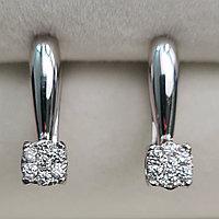 Золотые серьги с бриллиантами 0.20Ct VS2/H, EX-Cut, фото 1