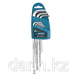 Набор ключей имбусовых HEX, 1.5-10 мм, S2, 9 шт, экстра-длинные с шаром, сатинированные Gross