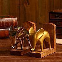 Держатель для книг 'Слоны' алюминий, дерево 44,5х7,6х18,4 см (ник. и латун. покр) набор 2 шт 50876