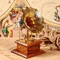 Граммофон сувенирный 'Цветок пустыни' дерево, латунь 11,5х11,5х24 см