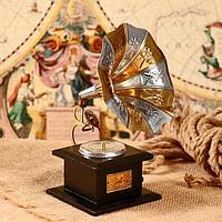 Граммофон сувенирный 'Соцветие' дерево, латунь 11х11х24 см