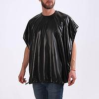 Пеньюар парикмахерский, 70 x 120 см, на завязках/присосках, цвет чёрный