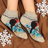 Носки женские шерстяные укороченные 'Снегирь на веточке', цвет серый, размер 23
