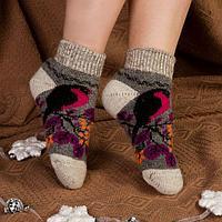 Носки женские шерстяные укороченные 'Снегирь на веточке', цвет серый, размер 25
