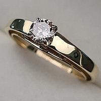Золотое кольцо с бриллиантами 0.42Сt SI1/M, EX - Cut, фото 1