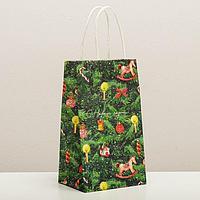 Пакет подарочный крафтовый 'Новогодняя ёлочка', 12 x 21 x 9 см
