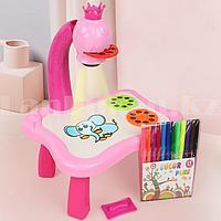 Набор для детского творчества столик для рисования с проектором слайдерами многоразовой платформой LOL YM6776A