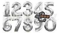 Воздушные шары цифры серебряные 76 сантиметров, от 0 до 9