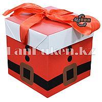 Подарочная новогодняя упаковка 10*10 см (маленькая) Костюм Санта Клауса YX-1S