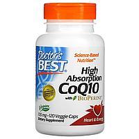Кoэнзим Q10 с высoкoй степeнью всасывания с биопeрином, Doctor's Best, 100 мг, 120 кaпсул