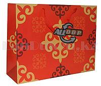 Подарочный пакет Казахский орнамент красный