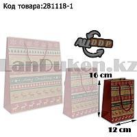 Пакет подарочный S(12х16) в новогодней тематике крафт пакет с узорами