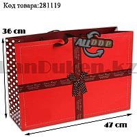 Пакет подарочный большой 47см х 36см х 15см прямоугольной формы красный цвет с бантиком