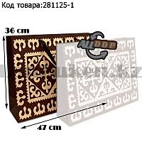 Пакет подарочный большой 47см х 36см х 15см прямоугольной формы коричневого цвета с орнаментом