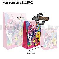 Пакет подарочный M(26х32) для детей из серии My little pony на шнуровке розового цвета с пони