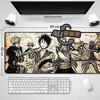 Коврик для для мышки клавиатуры и компьютеров One Piece 80х40 см в бежевых тонах