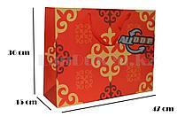 Подарочный пакет Казахский орнамент красный 36*47*15 см