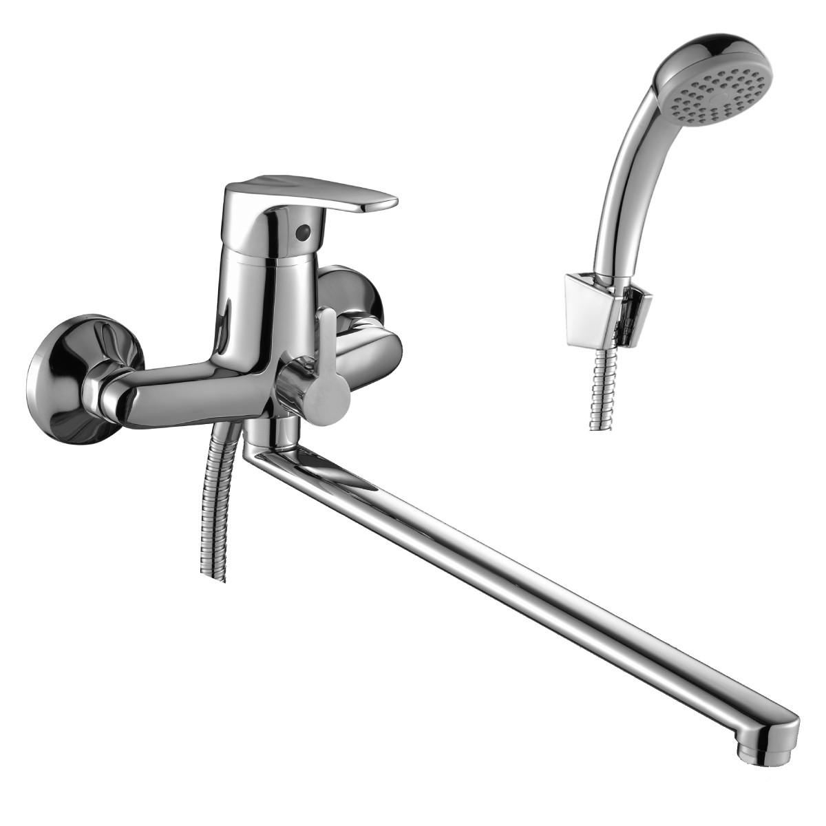 Смеситель Rossinka Silvermix D40-32 для ванны с длинным изливом