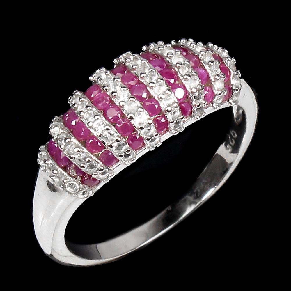 Кольцо с Рубинами и Топазами, бриллиантовой огранки