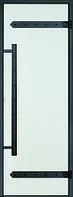 Дверь стеклянная Harvia Legend 7х19 (черная коробка сосна, стекло прозрачное, артикул D71904ML)