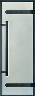 Дверь стеклянная Harvia Legend 7х19 (черная коробка сосна, стекло сатин, артикул D71905ML)