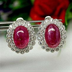 Серьги и кольцо с Рубинами. Комплект