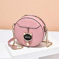 Женская сумка круглая Cute kitty на цепочке