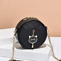 Женская сумка круглая Cute kitty на цепочке Черный