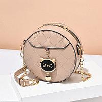 Женская сумка круглая Cute kitty на цепочке Бежевый