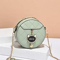 Женская сумка круглая Cute kitty на цепочке Зеленый