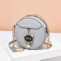 Женская сумка круглая Cute kitty на цепочке Серый