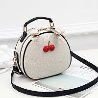 Летняя круглая женская сумочка Berry Бело-Черный