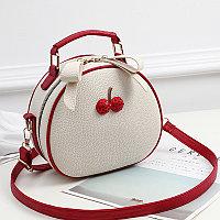 Летняя круглая женская сумочка Berry Бело-Красный