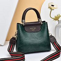 Женская сумка SADG с ярким акцентным ремешком Темно-Зеленый