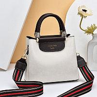 Женская сумка SADG с ярким акцентным ремешком Кремово-Белый